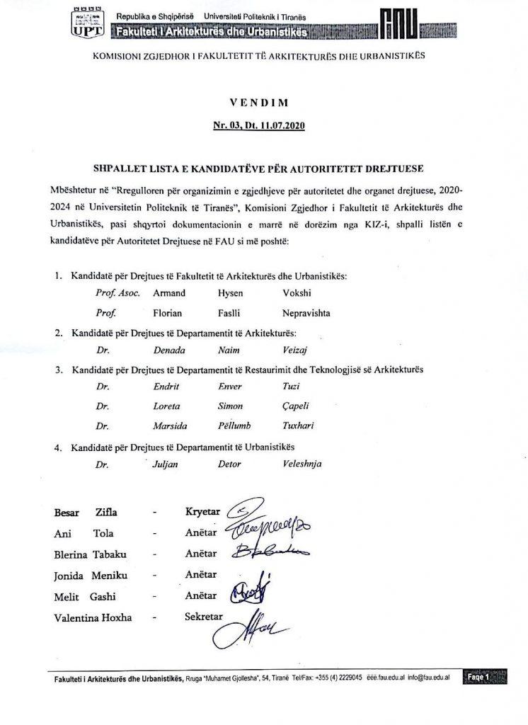 Lista Zgjedhore FAU 2020